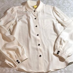 Kate spade 100% silk blouse cream long sleeve